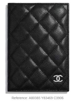 chanel passport holder black